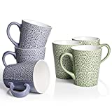DOWAN Coffee Mugs, 13 Oz Large Handle Coffee Mug Set of 6, Ceramic Mug for Coffee, Tea, Cocoa, and Mulled Drinks, Blue & Green