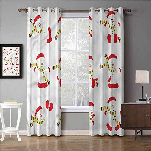 Blackout Window Curtain Panels, Heat and Full Light Blocking Drapes for Nursery, Thermal Insulated Draperies, Christmas Snowmen with Scarf (2 Panels, 52 inches Wide by 63 inches Long)