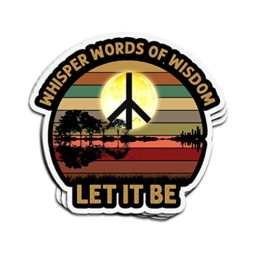 Lplpol 3 PCs Stickers Whisper Words of Wisdom Let It Be Guitar Lake Shad Die-Cut Wall Decals for Laptop Window Car Bumper Water Bottle Helmet 4 inches
