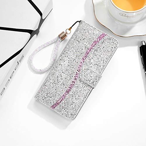 Protector de Pantalla para iPhone XS/X Glitter Powder Horizontal Flip Funda de Cuero con Ranuras y Soporte para Tarjetas y cordón, Zhongxianshangmaoyouxiangongsi (Color : Silver)