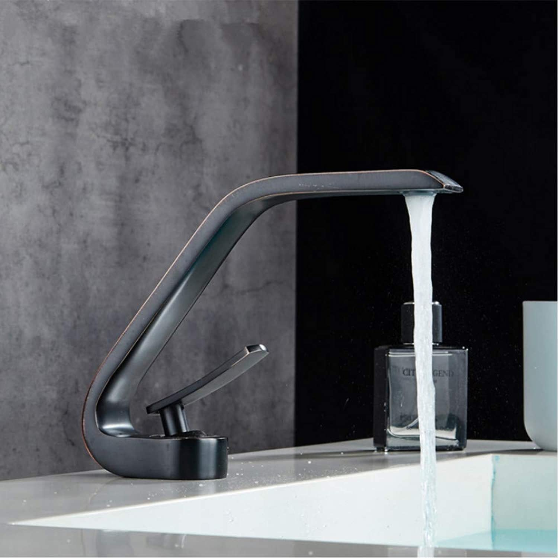 LLLYZZ Basin Faucets Modern Bathroom Mixer Tap Black Washbasin Faucet Single Handle Single Hole Elegant Faucets for Bathroom