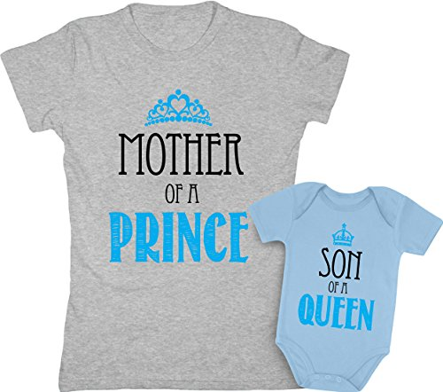 Mother of a Prince & Son of a Queen Mommy And Baby Boy Matching Set Shirt Bodysuit Clothing Baby 12M / Women Medium, Women Gray / Baby Aqua