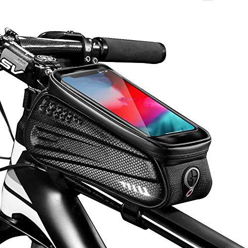 JY Impermeable Gran Capacidad Bici de Carretera Frontal de Tubo Bolsa Bolsa de Marco de Barra Transversal Frame Bag Portátil Bolsa de Teléfono Bolsa Táctil con Pantalla Táctil con V