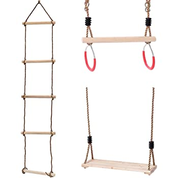 KAKIBLIN Kids Climbing Rope Ladder, Trapeze Bar with Rings and Hanging Swings Seat Bundle, Gymnastics Swing for Outdoor Swing Sets, Backyard Play Sets