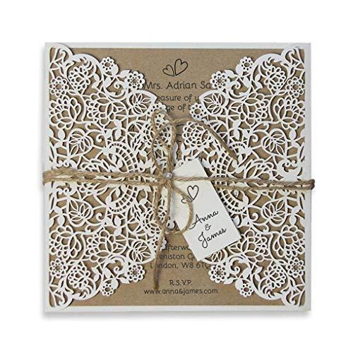 Invitaciones boda rústicas sobres corte láser floral