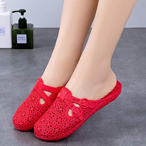 N/A Pantoufles pour Femmes Taille 9, Pantoufles pour Femmes avec Trous, Pantoufles pour Femmes à Fond Plat avec têtes Creuses, Pantoufles pour vêtements d'extérieur-Big Red_36