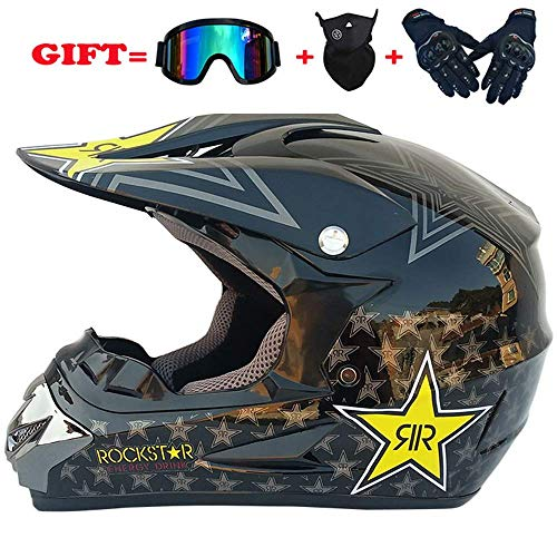 LWAJ Herren Offroad Helm, Herren Helme Locomotives Rally 4PCS Set mit Brille/Maske/Handschuhen Integralhelm Integralhelm Four Seasons Highway Helm (52-59cm)