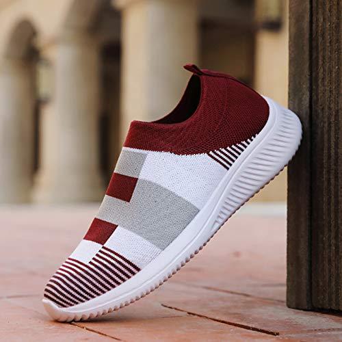 QY-Youth Zapatos para Caminar de Las Mujeres Calcetín de Tenis Zapatillas de Deporte-Confort Ladyweight Ladies dayday resbalón en los Mocasines,Rojo,42