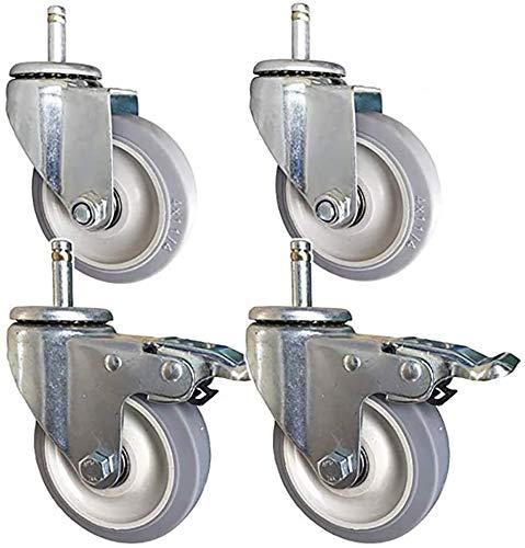 4pcs Ruedas de trabajo pesado M12 M14 STEM M14 Ruedas de goma silenciosa industriales 480kg 4 pulgadas 100 mm Ruedas de transporte con mobiliario giratorio de frenos Trolley Casters for la escuela del