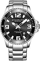 Stuhrling Original Mens Swiss Quartz Stainless Steel Sport Analog Dive Watch, Water Resistant 200 Meters, Black Dial, Aqua-Diver by Stuhrling Original