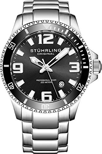 Stuhrling Original Mens Swiss Quartz Stainless Steel Sport Analog Dive Watch, Water Resistant 200 Meters, Black Dial, Aqua-Diver (Black)