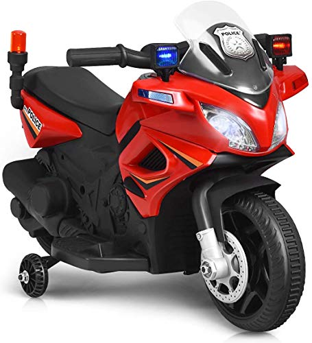 HONEY JOY Kids Ride On Motorcycle, 6V Battery Powered Motorized Toy Bike W/ Training Wheels, Siren Flashing Light & Sound, Headlight & Music, Police Pursuit Electric Toy for Toddler Boys Girls (Red)