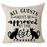 Belle10Bob Family Human Friends Pet All Guest Must be be Aprobado por el gato Animal Paw Print Funda de cojín Funda de cojín de algodón y lino material decorativo cuadrado de 45,72 cm