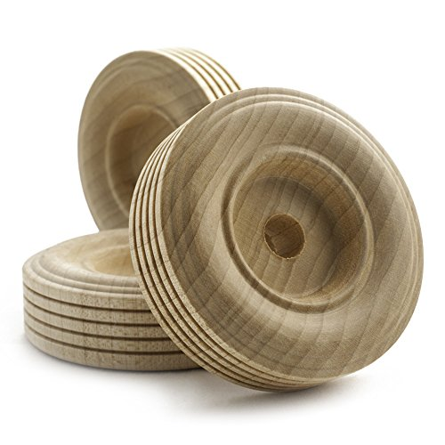 2-1/2″ Treaded Wooden Tires, 3/4″ Thick, 3/8″ Hole | Bag of 12
