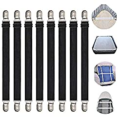 Adjustable Bed Sheet Straps Suspenders Elastic Sheet Fasteners Grippers Garters Clips for Flat & Fitted Sheet Corner Holder,Ironing Board Cover, Mattress, Cribs, Sofa Cushion& More(Short type--8 pack)