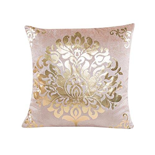 Kissenbezug 45 x 45 cm Goldsamt Quadrat Sofa Taille Wurf kopfkissenbezüge LuckyGirls (Beige)