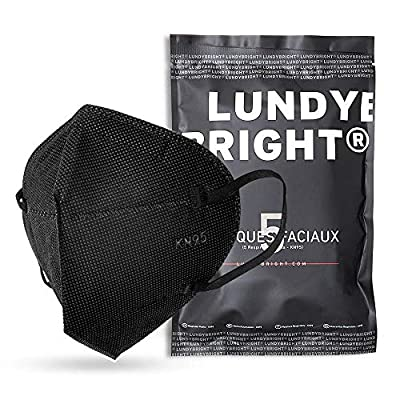 KN95 Face Mask 50 Pack FDA List, LundyBright 5-Layer Protective Masks with Elastic Earloop Respirator, Breathable Cup Facemask Against PM2.5 Dust, Air Pollution from