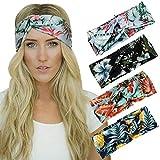 Dreshow - Juego de 4unidades pañuelos trenzados y elásticos para el pelo con un estilo vintage impr...