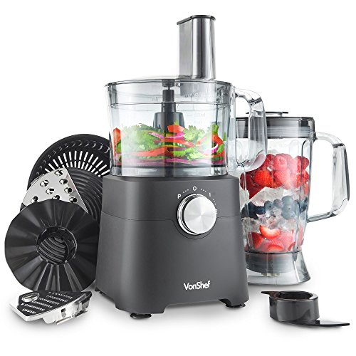 VonShef 750W Food Processor - Blender, Chopper, Multi Mixer Machine with Dough Blade, Shredder & Grater Attachment – 2L Mixing Bowl & 1.8L Jug