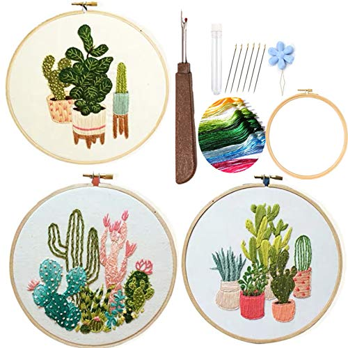 Embroidery Starter Kits for Adults Beginners with Stamped Pattern, Embroidery Floss + Stamped fabric + Needles + Bamboo Hoop, Cactus Series,