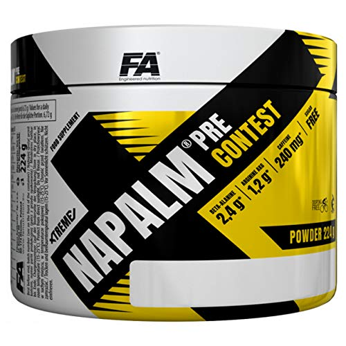Fitness Authority Xtreme Nap Pre-Contest - 1 Pack - Pre-Workout Dietary Supplement - Beta Alanine, AAKG and Citrulline - Vitamins with Coffeine and Taurin - Energy and Focus (Orange, 224g)