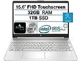 2021 Newest HP 15.6' FHD IPS Touchscreen Laptop,10th Gen Intel Quad-Core i7-1065G7 (Up to 3.9GHz), Iris Plus Graphics, 32GB RAM, 1TB SSD, Webcam, HDMI, USB-C, WiFi, Windows 10 Home+ AllyFlex Mouspad