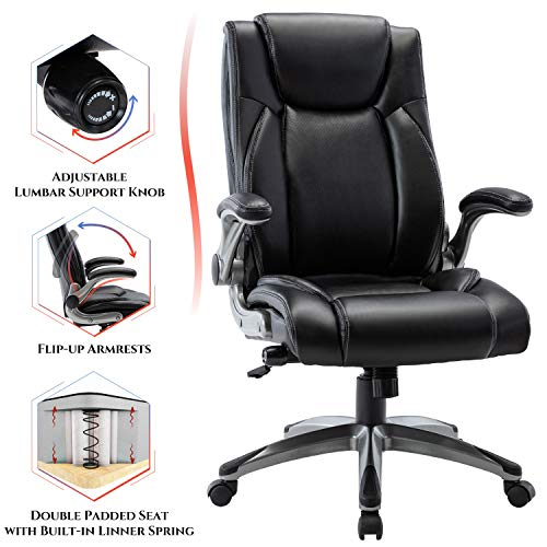 Multifunctional Office Chair - Adjustable Built-in Lumbar Support, Flip-Up Arms and Tilt Angle Executive Computer Desk Task Swivel Chair, Black