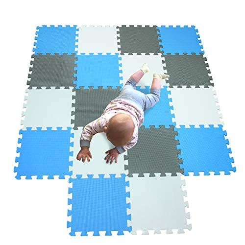 MQIAOHAM bébé dalles enfants jeux jouet mousses puzzle salle sol souple tapis non toxique Blanc-Bleu-Gris 101107112
