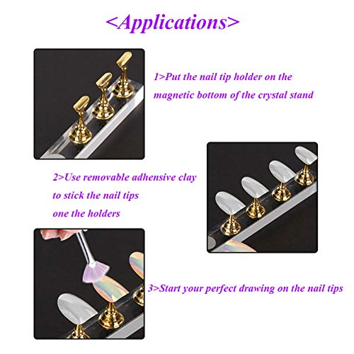 Aysekone 5 Pieces Per Box Gold Magnetic Acrylic Nail Tip Practice Display Holder Fingernail DIY Nail Art Display Stand Nail Art Salon Pillar Manicure Tools
