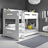 Sky White Single Wooden Bunk Bed - Ladder Can Be Fitted Either Side!