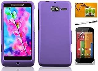 LF Purple hard Case Cover, Stylus Pen, Screen Protector & Wiper For Verizon Motorola Droid Razr M XT907 Razr i XT890 (Hard Purple)