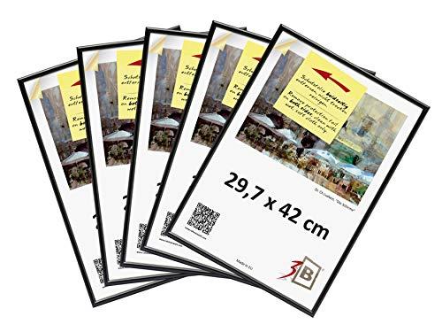 3-B Set 5 STK. - Bilderrahmen Foto - 29,7x42 cm (A3) - schwarz - Fotorahmen, Kunststoffrahmen mit Polyesterglas. Sparpaket!
