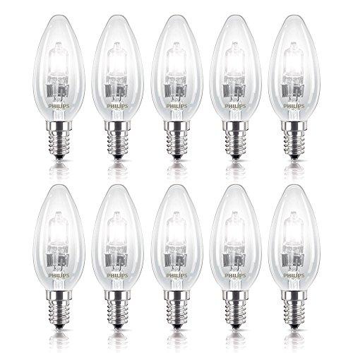 10 x Philips Halogen Kerze Glühbirne 18W = 25W / 23W E14 klar warmweiß 18 Watt dimmbar