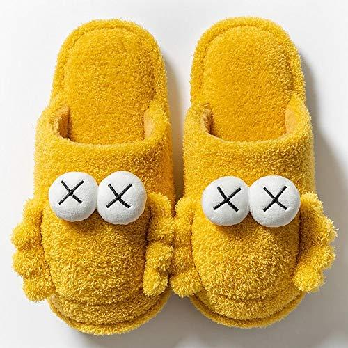 CJJCJJ Zapatillas de algodón Hombres Lindos Pareja de Peluche Plataforma Interior Zapatillas Suaves Zapatillas de hogar Zapatos Calientes (40-41 (Fits 39-40),Yellow)