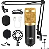Condenser Microphone Recording Studio USB Computer PC Microphone Kit 192kHz/24bit with Adjustable Scissor Arm Stand Shock Mount for Instruments Voice Overs Recording Podcasting YouTube Karaoke Game
