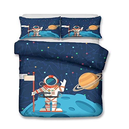 Bcvvsovs® Juego de Cama - 200 x 200 cm - 1 Funda nórdica y 2 Fundas de Almohada - 3D Dibujos Animados de Astronauta Espacial Azul Impresión - Microfibra - Hombres - Niños - Niños - Juego de Ca