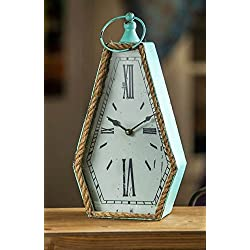 Unique Distressed Turquoise 15 Hexagon Rope Trim Table Clock