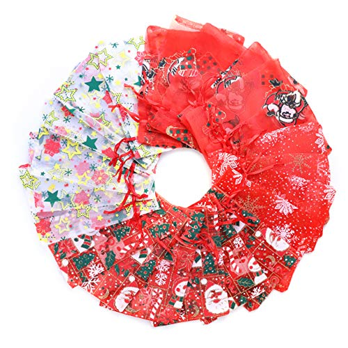 Sursurprise 60 STÜCKE Organza Geschenk Taschen 4x6 Zoll Kordelzug Schneeflocke Organza Favor Taschen Schmuck Süßigkeitstaschen für Silvester Weihnachtsfeier Hochzeit