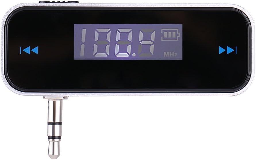 ASHATA Transmisor FM de Audio para Automóvil, Reproductor MP3 Coche, Pantalla LCD con Retroiluminación, Llamadas Manos Libres, con Conector de 3.5 mm para Teléfono Celular MP3