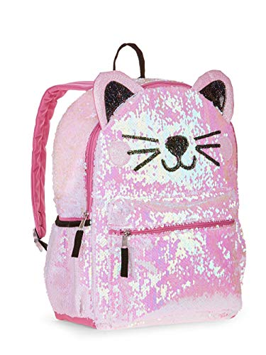 Kitty Cat Sequin Backpack for Girls -- Deluxe Kitten Backpack with 2 Way Sequins, 16 Inch