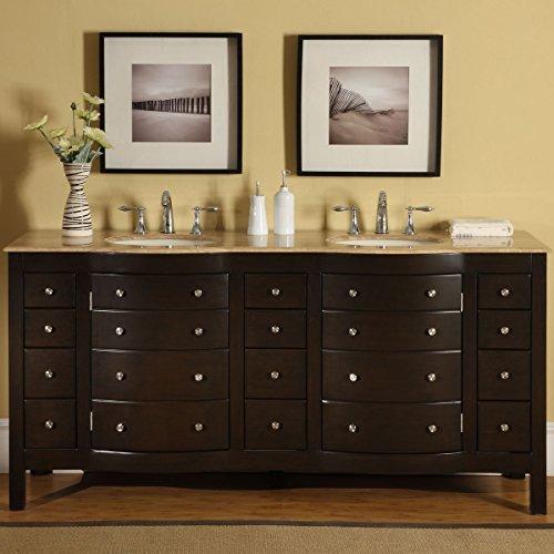 Silkroad Exclusive HYP-0704-T-UIC-72 Travertine Top Double Sink Bathroom Vanity with Furniture Cabinet, 72', Dark Wood