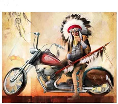Msszsh 5D Diamant Schilderij Kunst Kits Indian Volledige Ronde Borduurwerk Inheemse Motorfiets Patroon Cross Stitch Volledige Strass Decor 40X50Cm (15.5X19.5Inch)