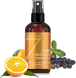 Sore Muscle Relief Magnesium Spray - Made in USA - Powerful Organic Blend of Essential Oils (Black Pepper, Orange, Sweet Marjoram) - For Joints, Cramps, Stiffness, Pain Relief, Improved Circulation &