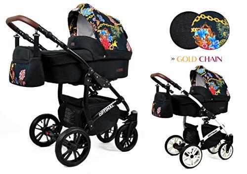 Lux4Kids Poussette Landau 3in1 2in1 Megaset Buggy Siège auto Siège auto Siège bébé Siège sport Optimum Gold Chain 3en1 avec siège auto