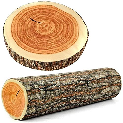 Bigsweety 2PCS Decorative Round Throw Pillow, 3D Cute Wood Log Pillow Circle Seating Floor Cushion for Home, Couch, Sofa, Bedroom, Living Room Decor, Stump