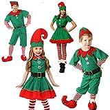 NC Mujeres Hombres Niño Niña Navidad Papá Noel Disfraz Niños Adultos Familia Elfo Verde Disfraces de Cosplay Carnaval Fiesta Suministros