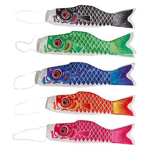 Gazechimp Lot de 5pcs 40cm Japonais Banderole Koinobori en Forme de Carpe Couleur Différent