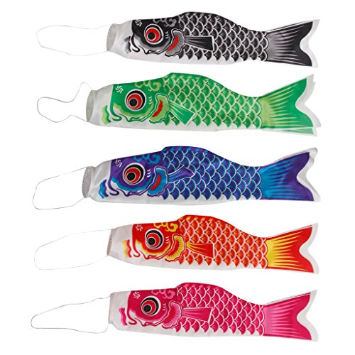 Gazechimp 5 Piezas Pescados Koinobori Calcetín de Viento Carpa Nobori Koi Decoración Colgante Bandera de Cometa