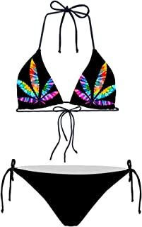 HUGS IDEA Tropical Triangle Bikini Swimsuit Tie Side Bottom Padded Top Bathing Suit