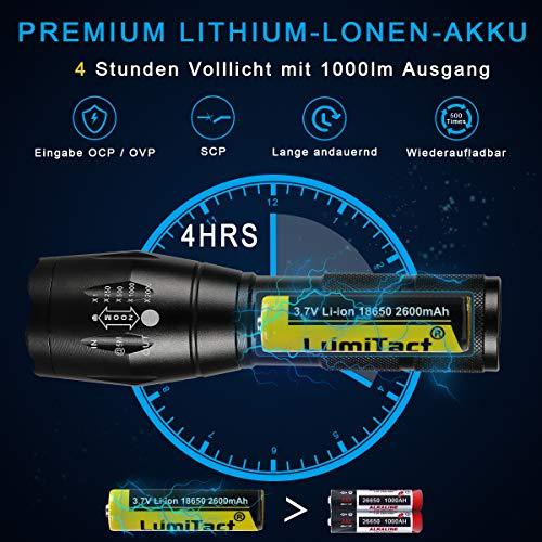 Lumitact G700 LED Taschenlampe, Extrem Hell 3000 Lumen CREE Wiederaufladbare Taktische Taschenlampen, Aufladbar Fackel für Camping Wandern und Notfälle (Inklusive 1 x 18650 Batteries) - 4